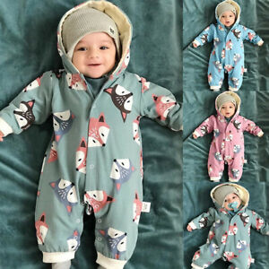 US Newborn Toddler Baby Girl Boy Hooded Romper Jumpsuit Winter Outfits Clothes