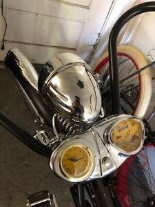 Stewart-Warner-Speedometer-Waterbury-Wind-up-Clock-Bicycle-Accessory-GOLD