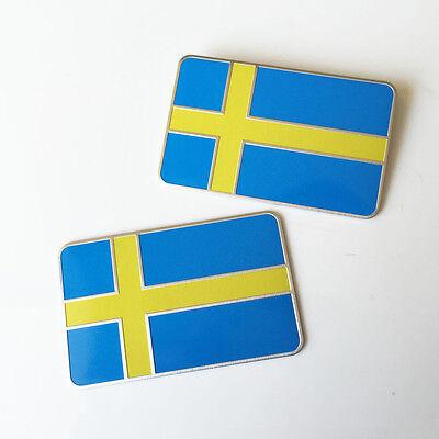 2pcs SWEDEN Flag CAR Emblem Badge - Swedish Flag DECAL STICKER LOGO CHROME