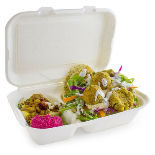 Set of 50 2 Compartment Clamshell Bagasse Takeaway Food Box 7 Inch