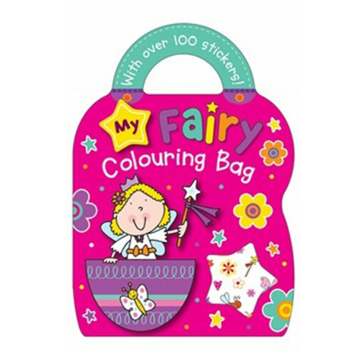 Princess,Spaceman Colouring Bag Book 100 Stickers With 4 Wax Crayon Fairy Pet