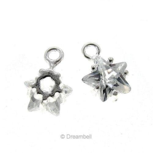 2x Sterling Silver Twinkle Star Cz Crystal Dangle Charm 6mm