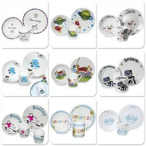 Image is loading Personalised-Kids-Childrens-Breakfast-3-Piece-Dinner-Set-  sc 1 st  eBay : personalised childrens plate bowl set - pezcame.com