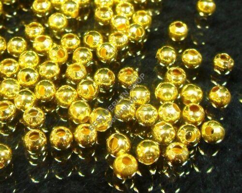 175 À faire soi-même Métal Perles Entre Pièces Métal Spacer Beads Rond 5 mm Or sf28