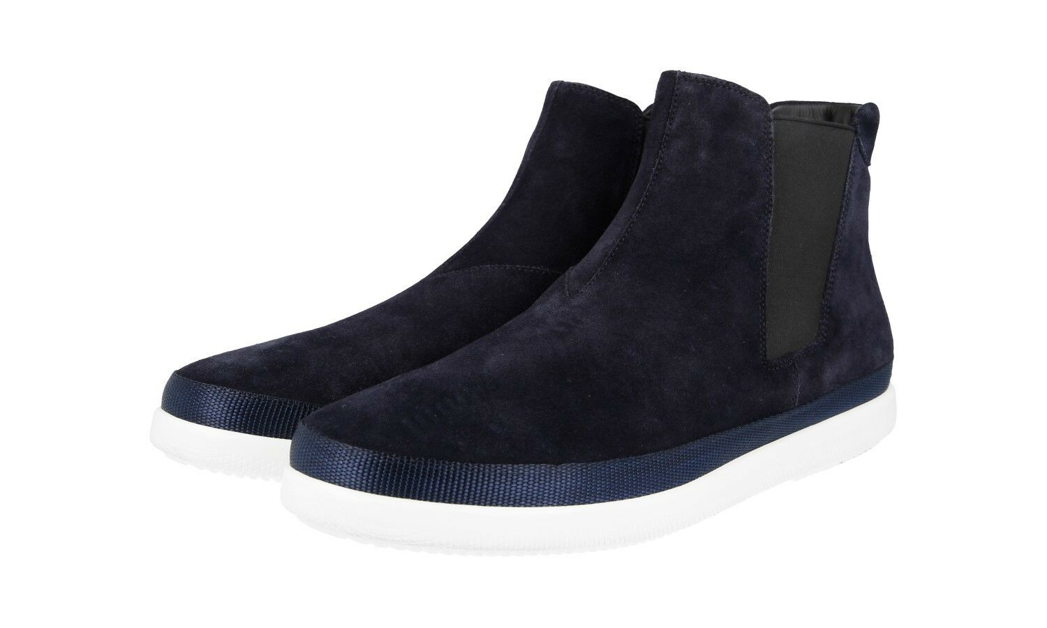 AUTH LUXURY PRADA HALF-BOOT SHOES 4T3154 blueE SUEDE NEW 8 42 42,5