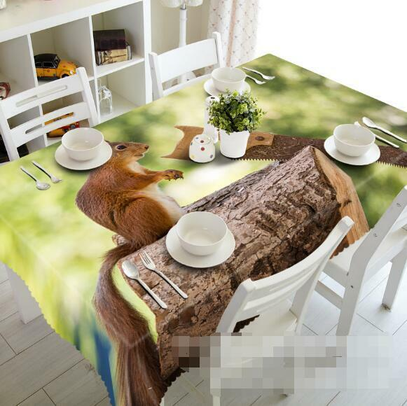 3D Squirrel 55 Tablecloth Table Cover Cloth Birthday Party Event AJ WALLPAPER AU