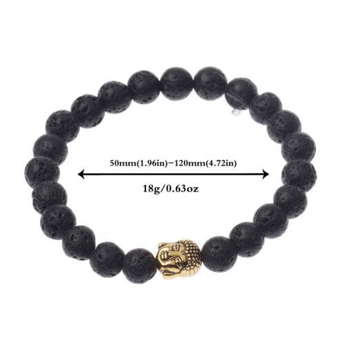 Man/'s Skull Natural Stone Lava Stone Buddha Beads Bracelets Elastic Bracelets