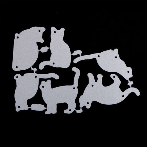 6pcs cat metal cutting dies stencil scrapbook paper cards craft embossing diy HD