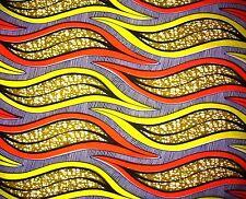 African Fabric 1/2 Yard Cotton Wax Print PINK YELLOW BEIGE ORANGE Abstract BTHY
