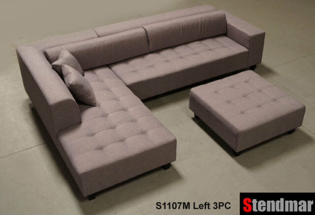 4pc Modern Dark Grey Microfiber Sectional Sofa Chaise Chair Ottoman S1107RDG