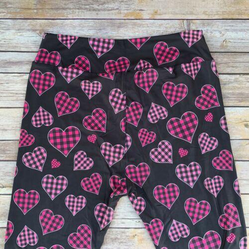 Plaid Heart Love Valentine/'s Day Women/'s Leggings TC2 Extra Plus Size 20-26