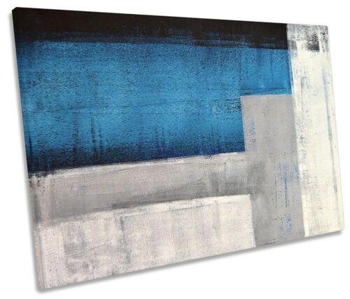 Blue Abstract Grey Minimalist SINGLE CANVAS WALL ARTWORK Print Art