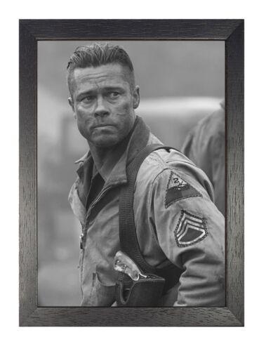 1 Brad Pitt Foto Schwarz und Weiß Bild Hollywood Actor Aufdruck Prominent Poster
