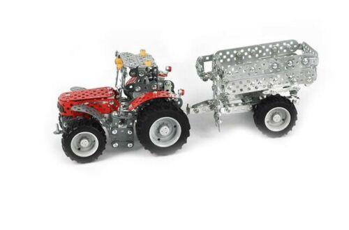 Metallbaukasten tractor con remolque Massey Ferguson 700 piezas de tronico
