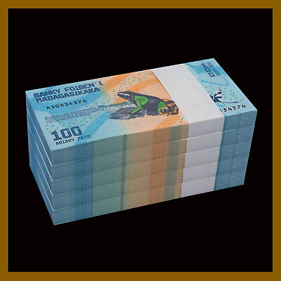 2017 P-New Frog Colorful Unc Madagascar 100 Ariary x 10 Pcs