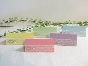 Details Zu 10 20 Tischkarten Pastell Taufe Geburt Spitze Platzkarten Namenskarten