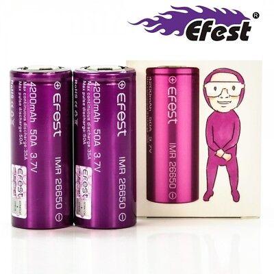 2 Pack Efest Imr 26650 4200mah 50a Li-ion Battery Hi Power Mod Ebike & Avionics