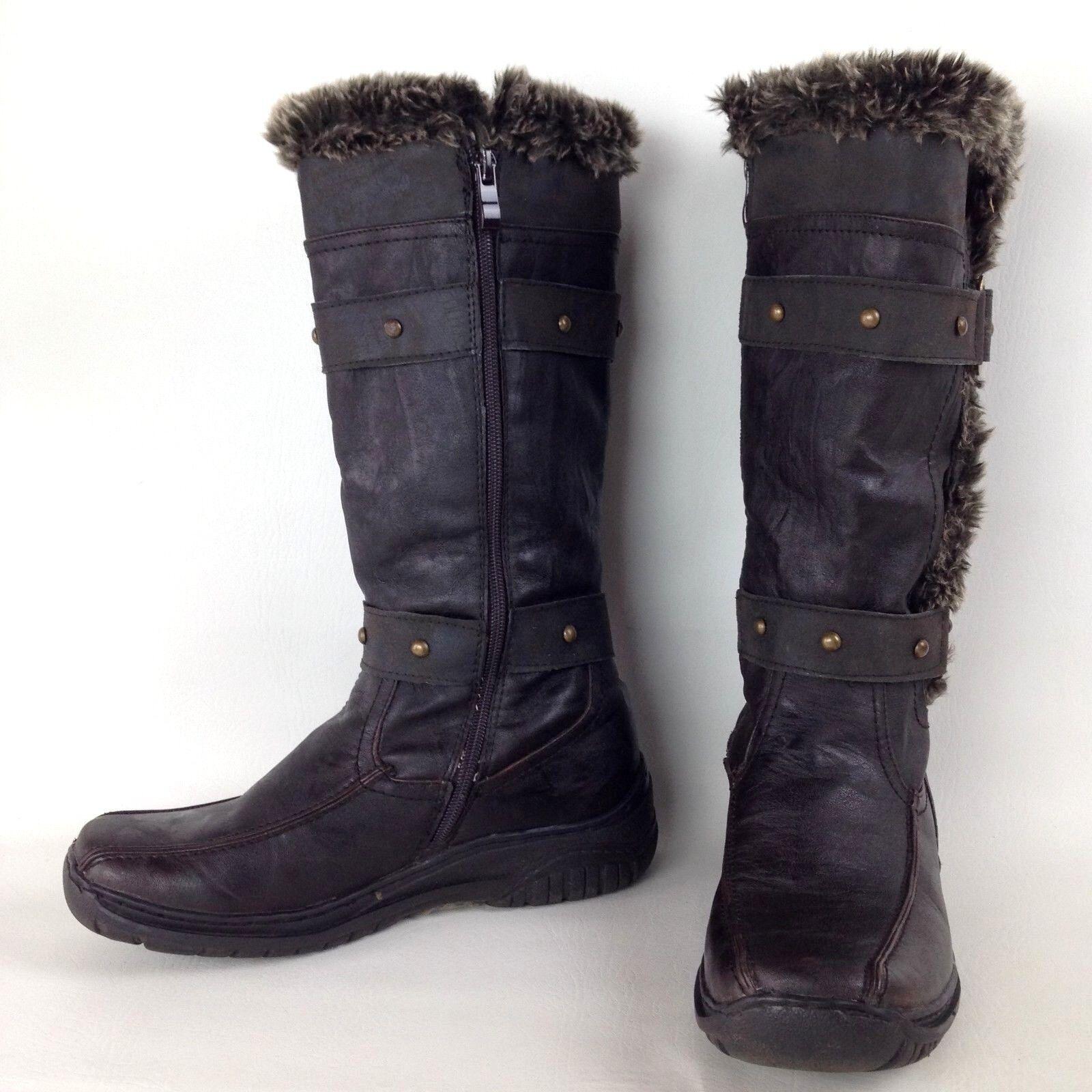 APRES BY LAMO Women's Side Zip Brown Synthetic Suede Faux Fur Comfort Boots Sz 7