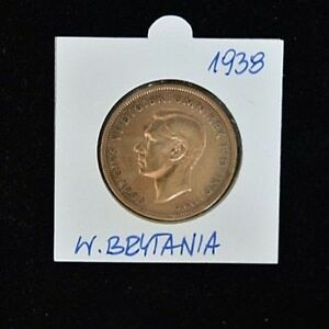 1938-Georgivs-VI-One-Penny-Copper-Extremely-Fine-Condition