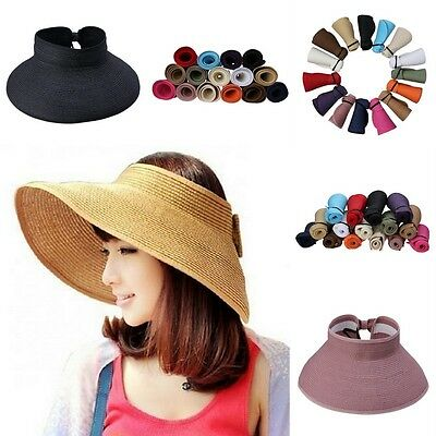 Women Summer Straw Headless Roll Up Foldable Beach Wide Brim Sun Hat Visor Cap
