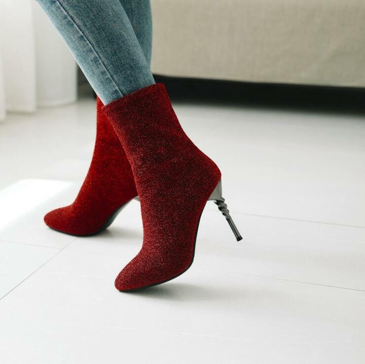 Womens High Heel Ankle Boots Pointed Toe High Heel Stilettos Faux Suede shoes