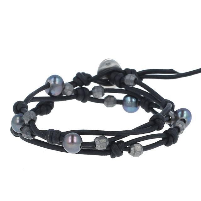 Chan Luu Pea Blue Pearl Double Strand Bracelet On Natural Black Leather Nwt