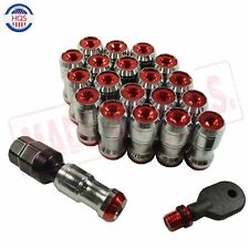 RED EXTENDED DUST CAP STEEL WHEEL LUG NUTS NUT RIMS TUNER M12x1.5 WITH LOCK