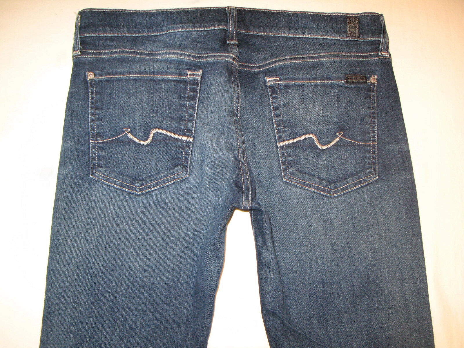 7 for all Mankind Womens Bootcut Jeans Sz 31 w Stretch Distressed Wash