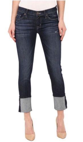 189 Hudson Crop Muse Dark Mosaic Wash Skinny with 5  Cuff Stretch Jeans 27 NWT