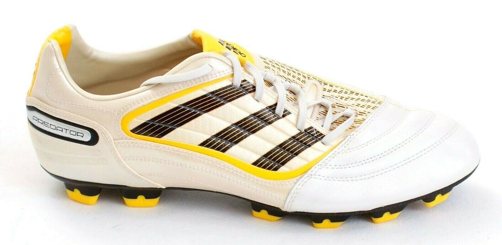 Adidas Predator Absolado White, Yellow & Black FG Soccer Cleats Men's 12.5  NEW