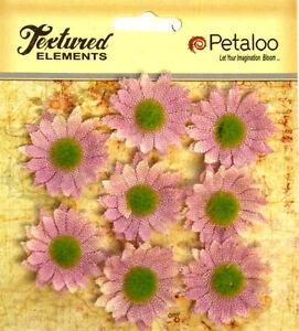 Mini-Daisies-LAVENDER-x-8-BURLAP-30mm-across-Textured-Elements-Petaloo-Ver