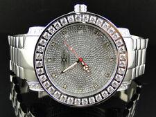 Mens White 1 Row Iced Bezel Khronos Jojino Joe Rodeo Genuine Diamond Watch