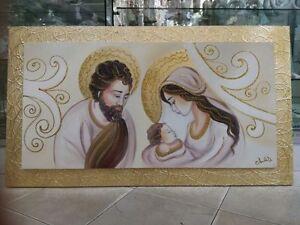 Quadro capezzale su tela sacra famiglia legno oro parete for Famiglia parete