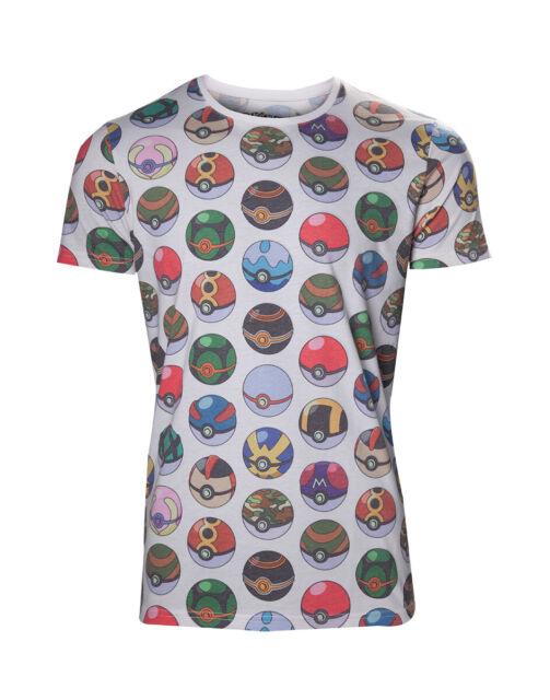 Pokémon - Allover Stampa Poké Palla T-Shirt Taglia M Rara Nuovo