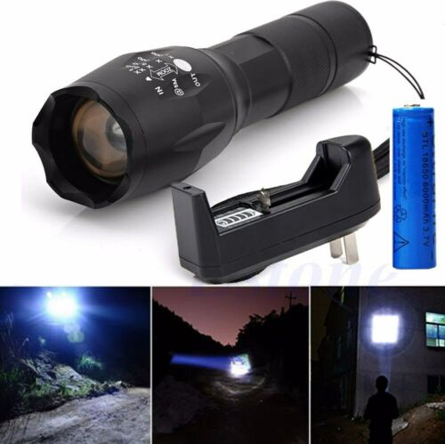 2pcs Powerful 5-Zoomable Lamp 990000lm Tactical T6 LED Flashlight Torch Light US