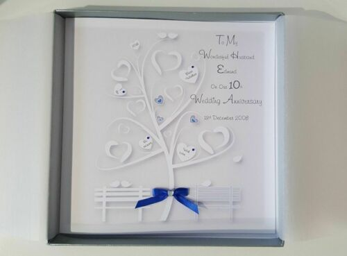 Personalised 10th Anniversary Card Husband Wife Any Year Or Colour Tin SKU97