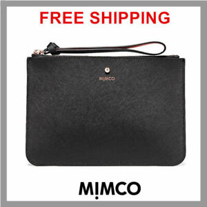 b6e4aee43b Details about Mimco supermicra Black with rose gold Medium saffiano Leather  Pouch DF