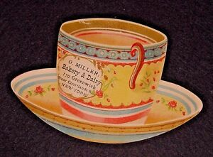 Old Business Card-Figural-Miller Bakery Dairy-New York-Cup and Saucer-Trade
