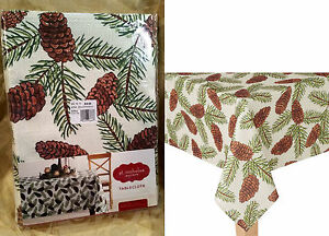 Image Is Loading St Nicholas Square Pinecone Fabric Tablecloth Woods Tree