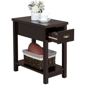 Details about End Tables Living Room Bedroom Narrow Wood Sofa Couch Side  Table Small Modern