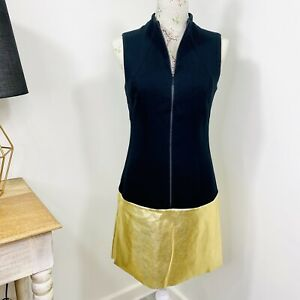 Cue Womens Shift Dress Zip Front Black Gold Corporate Work Size 8 10 NWT