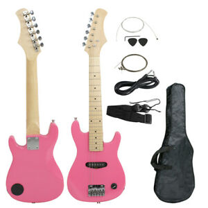 30-034-Kids-Pink-Electric-Guitar-6-String-with-Gig-Bag-Case-Starter-Beginner-Wooden