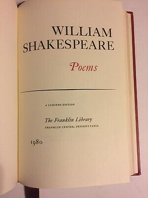 1980  100 Greatest Franklin Library Poems of William Shakespeare