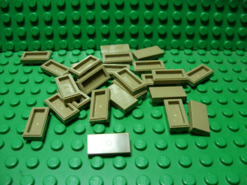 ** 25 CT LOT **  Lego NEW dark tan 1 x 2 tile pieces   Lot of 25