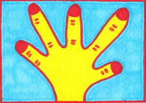Original-ACEO-Drawing-by-Jay-Snelling-Outsider-Art-Brut-Hand-Yellow-Blue