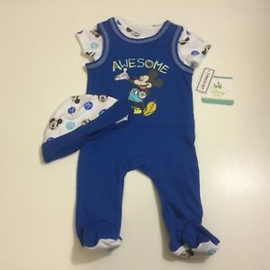 DISNEY-BABY-Mickey-Mouse-Sleeper-Outfit-W-Hat-NWT-Blue