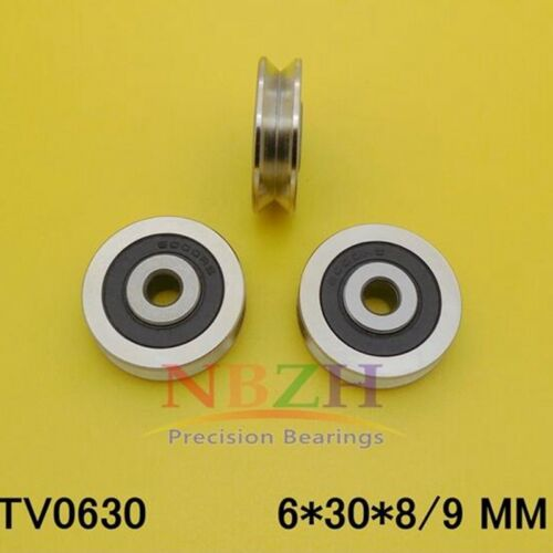 10pcs 0630VV   6*30*9mm V Deep Groove Guide Bearing Steel Pulley Sealed Rail