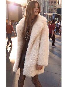 Bnwt Zara Ecru Textured Curl Knit Coat S M Ref 3945 100