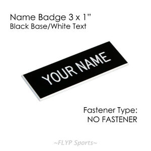 """Name Plate Black/White NO FASTENER 3x1"""" Label Sign Tag Plaque Badge Engraved ..."""