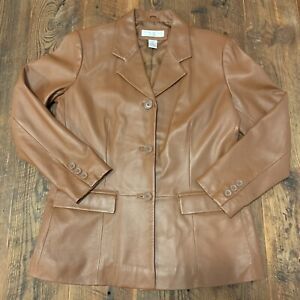 Preston-amp-York-Sz-Medium-Petite-Brown-Soft-Lamb-Skin-Leather-Button-Jacket-Coat